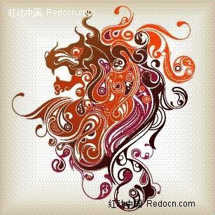 欧式马头花纹图片