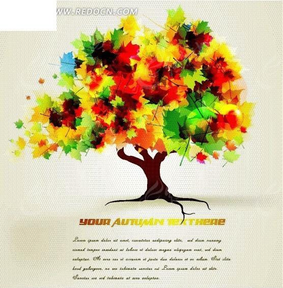 手绘彩色精美大树背景设计