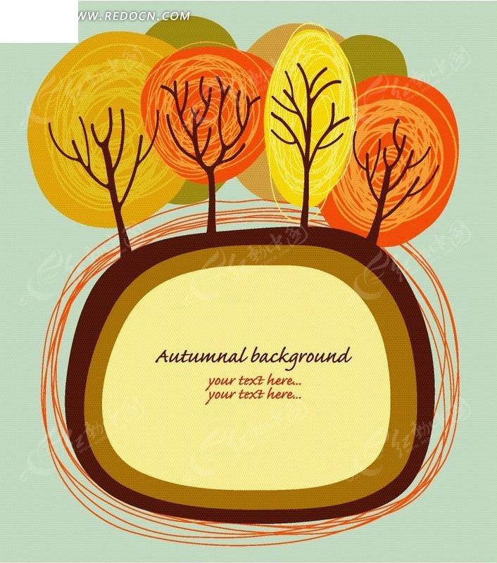 手绘可爱树木卡片设计图片