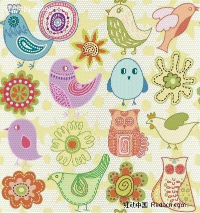 卡通手绘小鸟图案和彩色花瓣