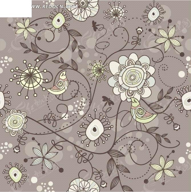 精美的手绘花藤花瓣图案矢量图_