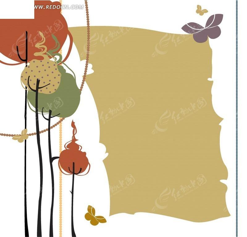 手绘可爱蝴蝶小树底纹背景设计