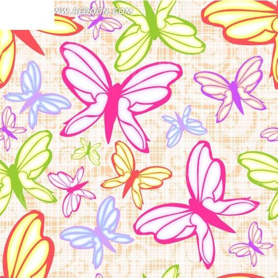 手绘卡通彩色蝴蝶图案图片