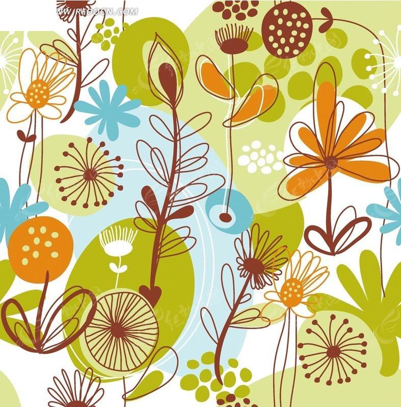 手绘卡通花树图案