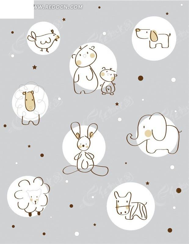 兔子小牛羊大象小狗