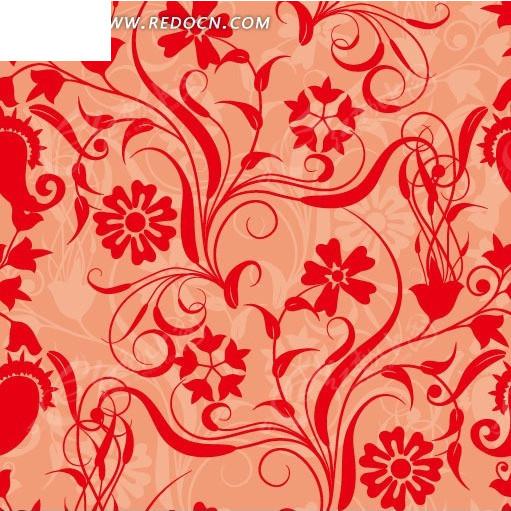 红色系花朵藤蔓底纹背景素材
