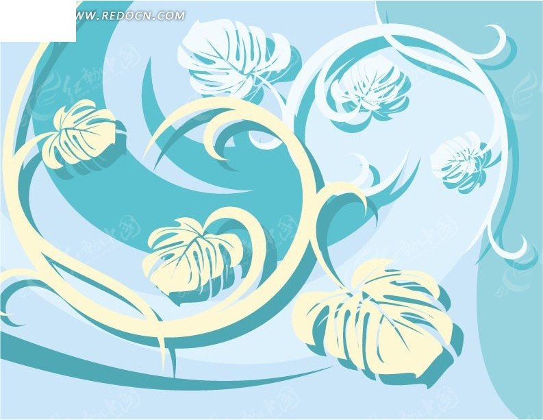 蓝色背景上的叶子藤蔓素材矢量图