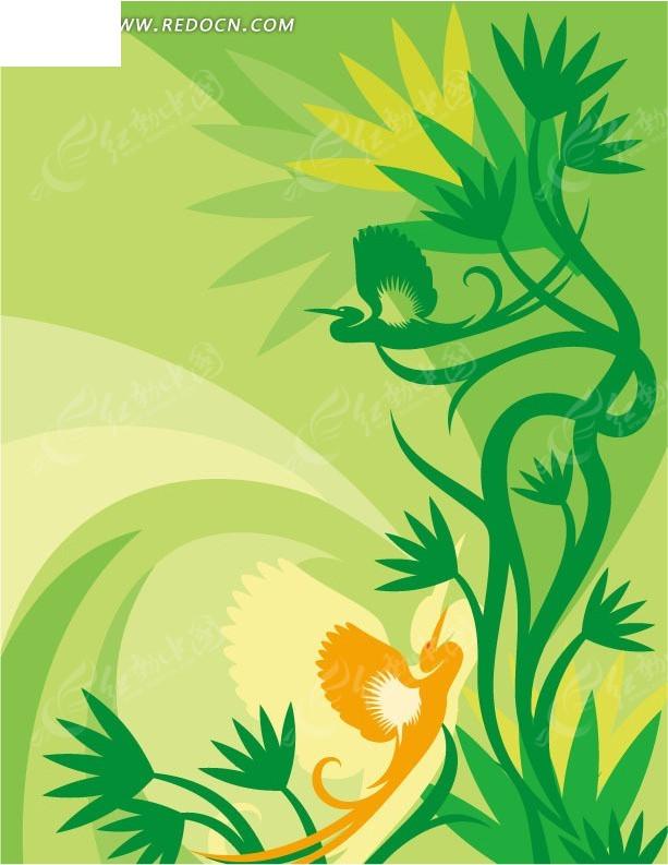 免费素材 矢量素材 花纹边框 花纹花边 > 手绘绿色枝条边的飞鸟  免费