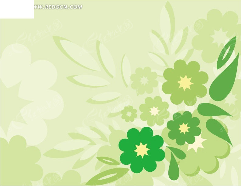 免费素材 矢量素材 花纹边框 花纹花边 手绘绿色花朵和绿叶