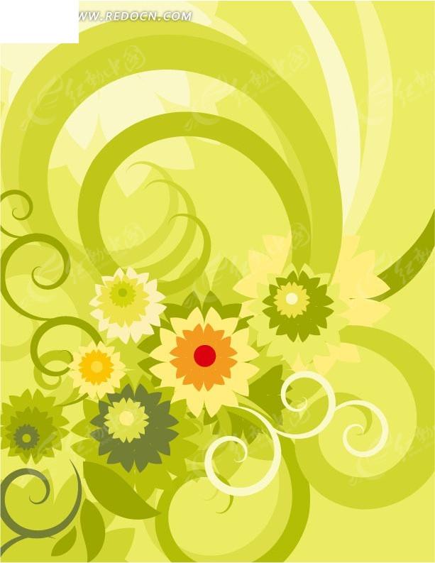 手绘绿色曲线上的花朵