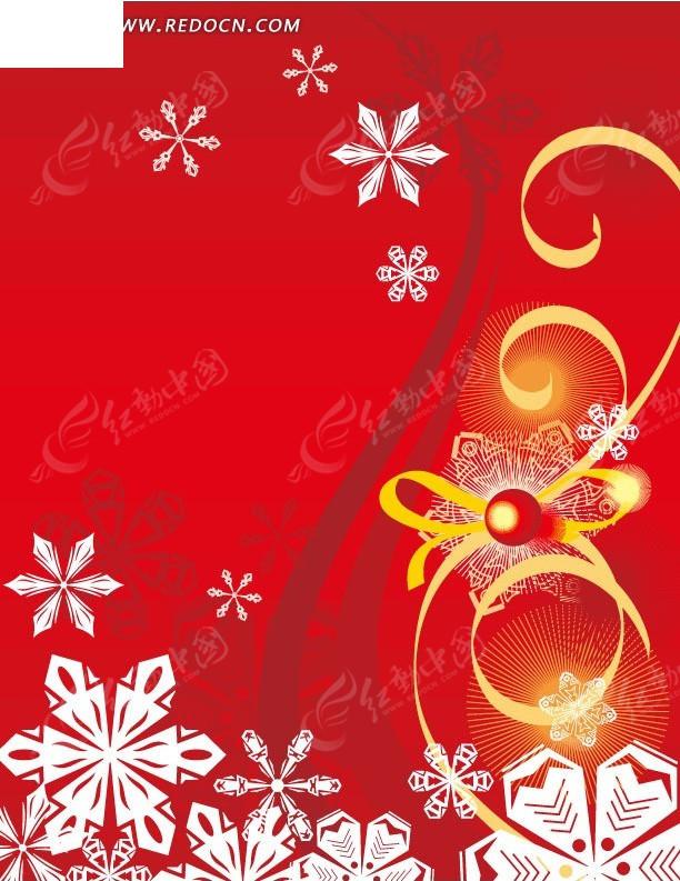 手绘红色背景上的彩带和雪花