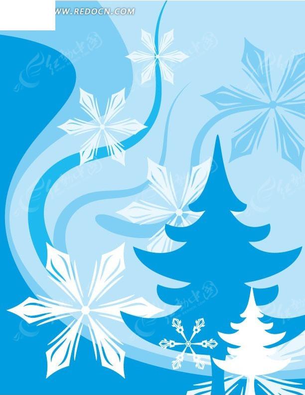 手绘蓝色曲线和白色雪花及松树