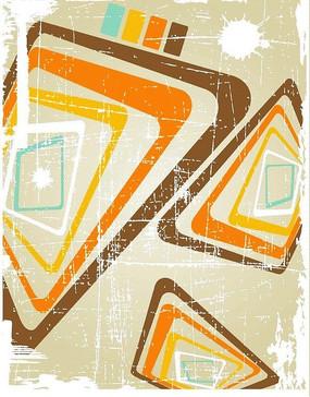 潮流彩色几何图形墨迹底纹