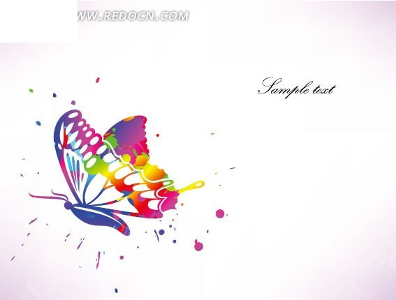 手绘彩色蝴蝶图片