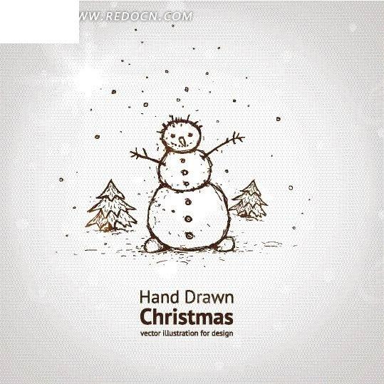 手绘卡通雪人矢量图