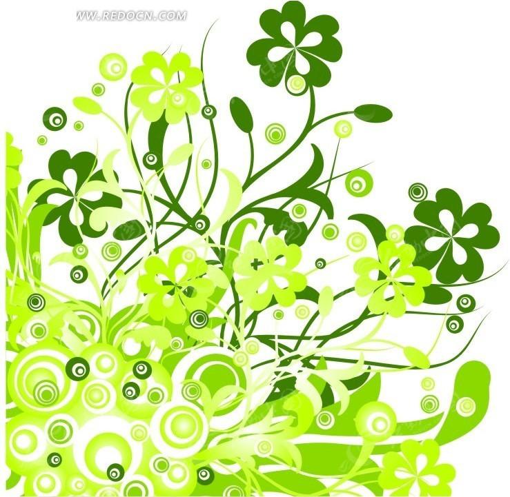 绿色花藤与圆形