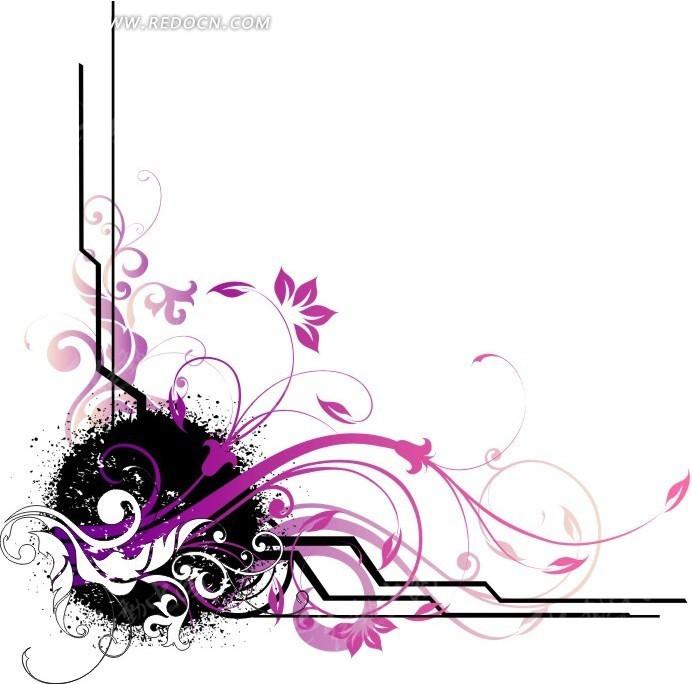 花藤手绘图黑白