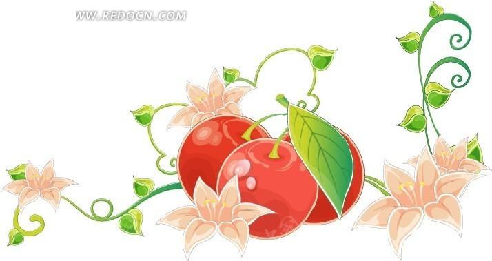 手绘枝条上的花朵和果子