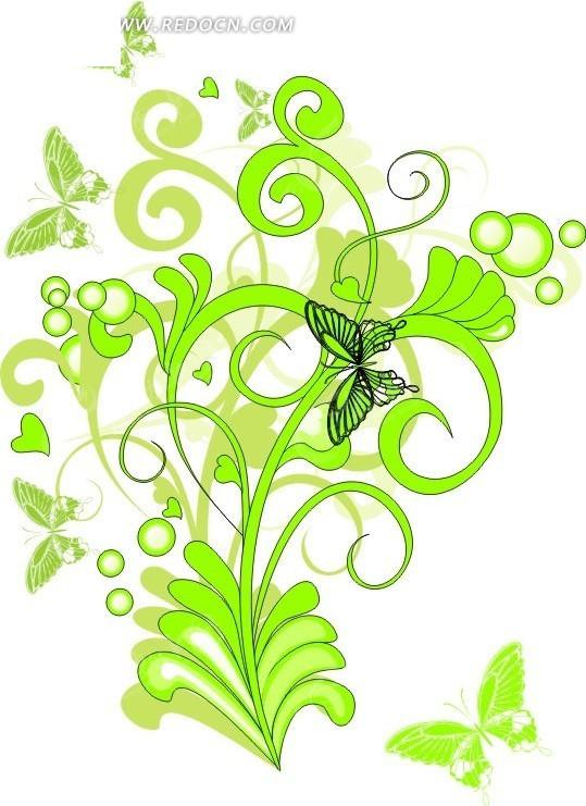 绿色 藤蔓 蝴蝶 圆形 心形 卷曲 花纹 花纹素材 花边 花边素材 矢量