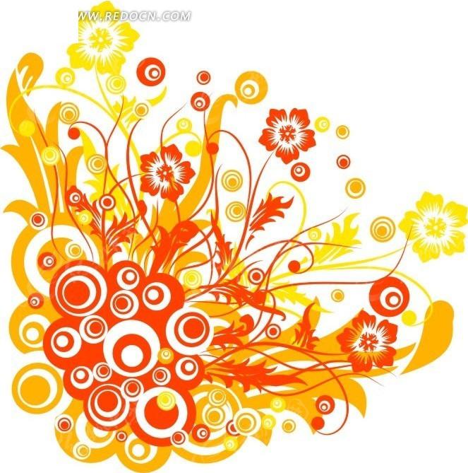 免费素材 矢量素材 花纹边框 花纹花边 手绘红色和橙色时尚圆环和花朵