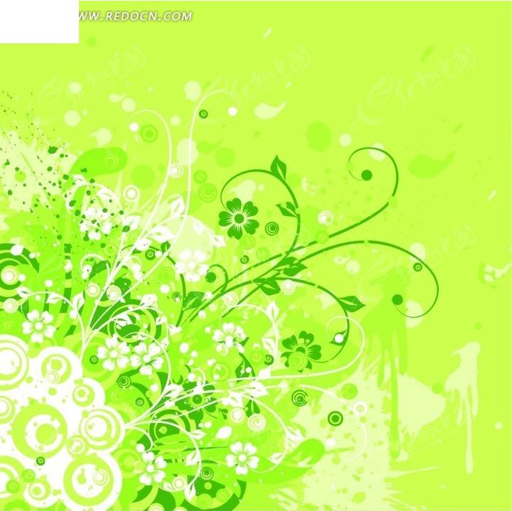 绚丽绿色花朵藤蔓圆圈背景设计cdr免费下载_花纹花边
