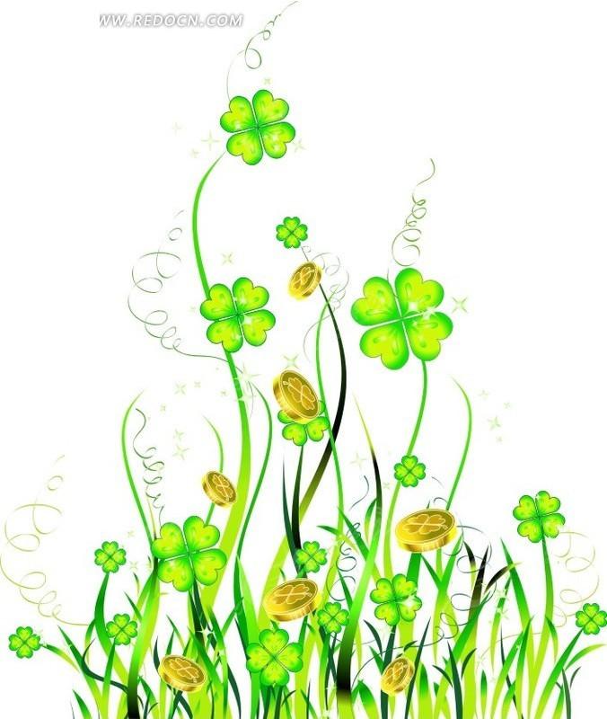 手绘一束青绿四叶草CDR素材免费下载 编号1624067 红动网图片