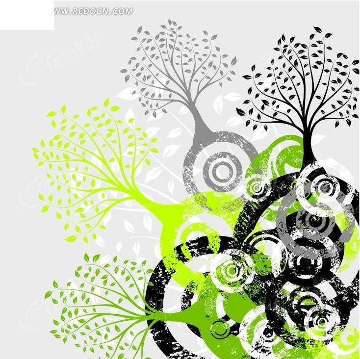 圆圈 大树 植物 叶子 精美花纹 底纹 背景 花纹 花纹素材 花边 花边