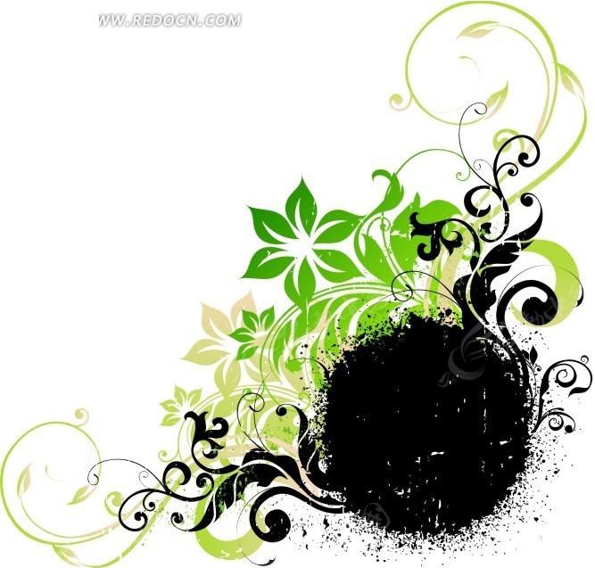 免费素材 矢量素材 花纹边框 花纹花边 手绘开花的枝条和黑色圆形喷溅