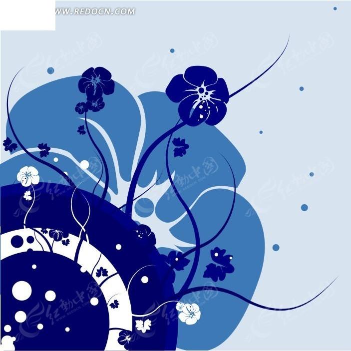 手绘精美的蓝色圆环和花朵
