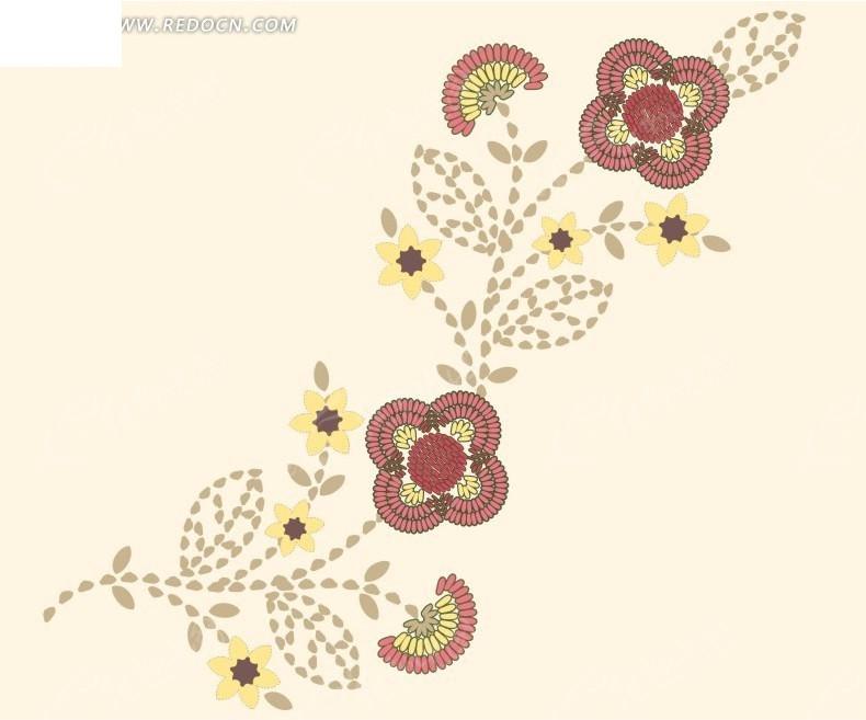 手绘粉色背景上开花的枝条