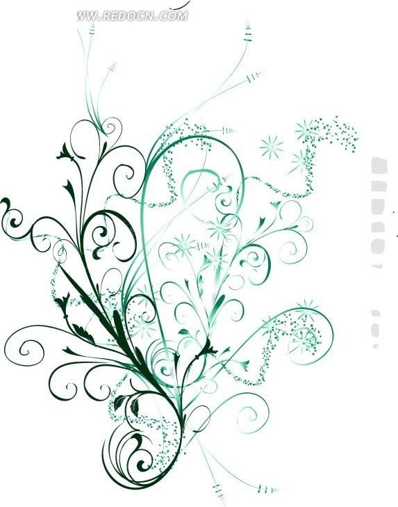 精美绿色小花朵藤蔓花纹矢量图