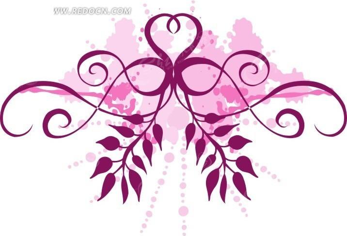 粉色叶子和藤蔓花纹矢量图CDR免费下载 花纹花边素材
