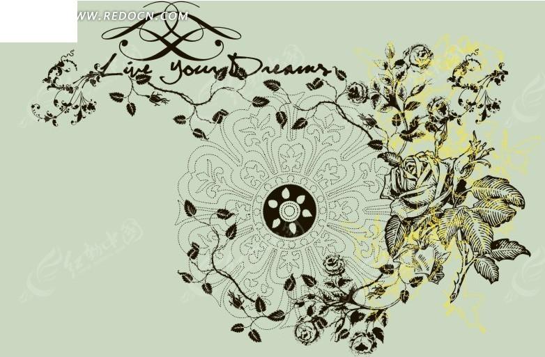 免费素材 矢量素材 花纹边框 花纹花边 手绘精美花朵花藤图案