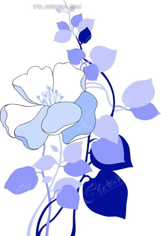 手绘蓝色花朵叶子花纹