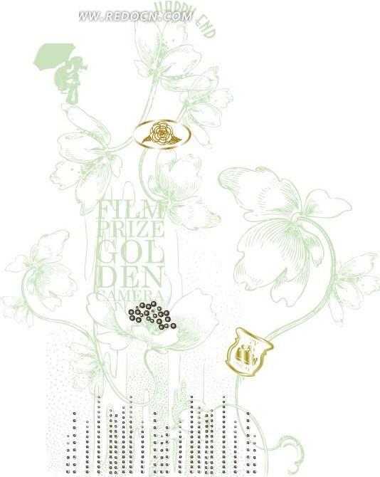 淡雅绿色手绘花纹背景