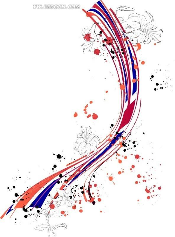 手绘彩色带子和花朵及墨点cdr素材免费下载(编号)_红