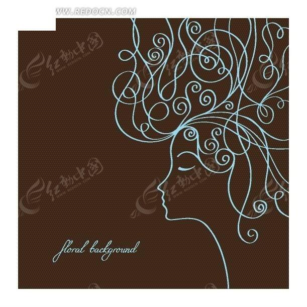 咖啡色背景上线描卷发女人eps免费下载