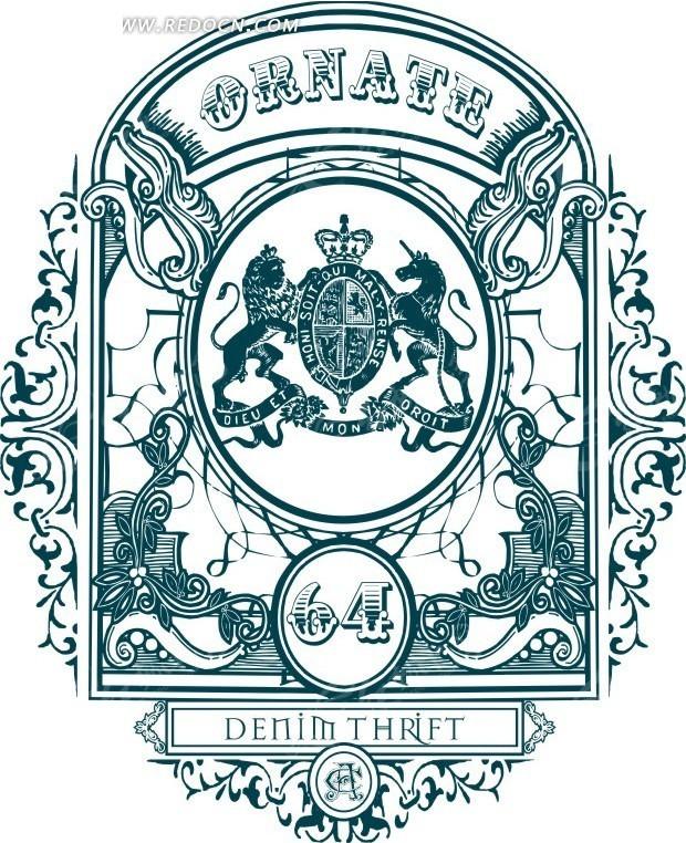 蓝色欧式古典花纹标牌