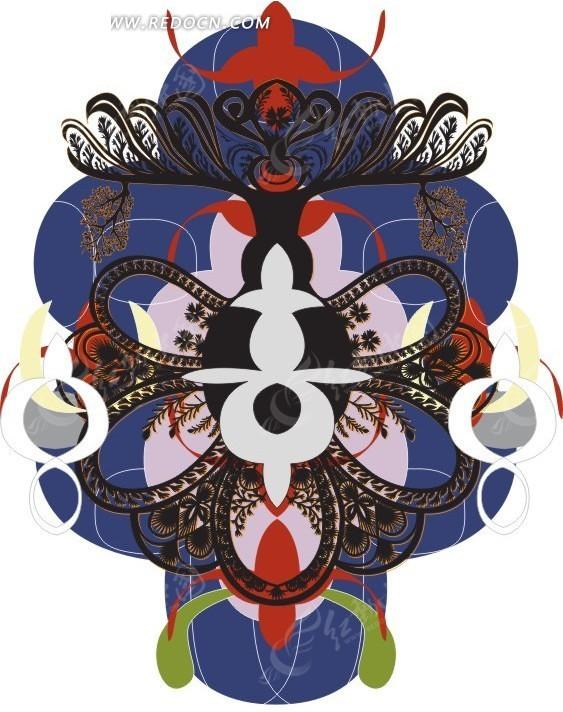 欧式古典花纹矢量图_印花图案
