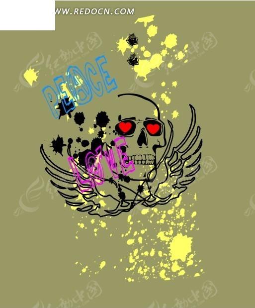 翅膀 红心 骷髅 骷髅头像 墨点 love 爱 背景素材 cdr矢量图案 矢量图片
