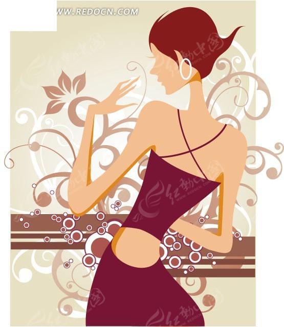 时尚女人背影