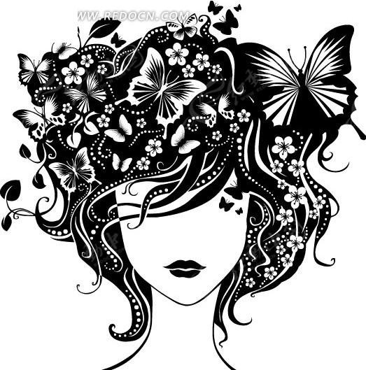 免费素材 矢量素材 花纹边框 花纹花边 黑白手绘花边卷藤蝴蝶女人头像图片