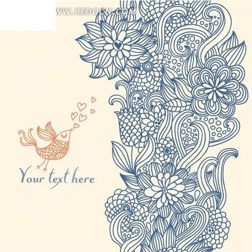 小鸟手绘线描图片