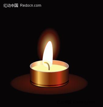 手绘点燃的蜡烛