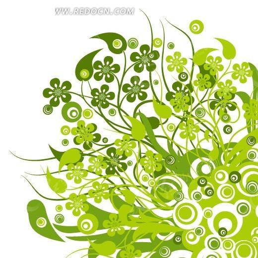 绿色圆圈藤蔓花朵背景