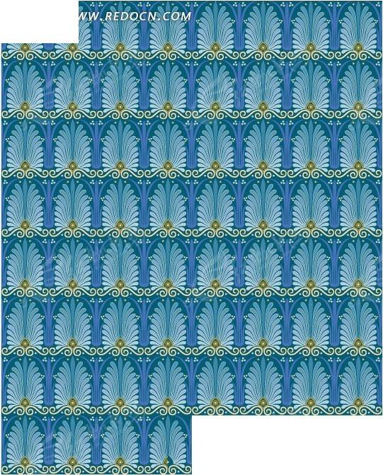 欧式古典蓝色花纹平铺底纹