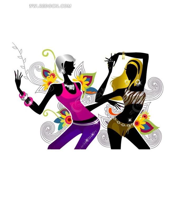 两个正在跳舞的手绘时尚潮流美女