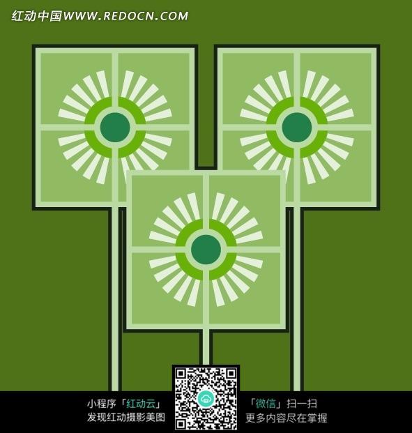 草绿底黑边浅绿正方形白色太阳花拼贴图案图片