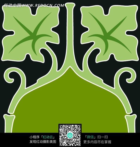 黑底绿叶藤对称图案图片_花纹花边图片