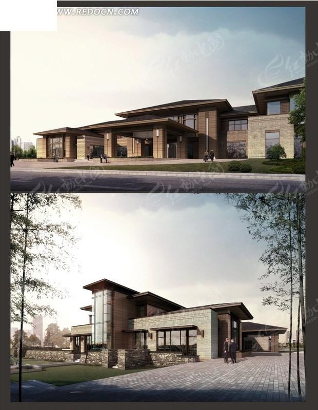 欧式别墅日景效果图设计3dmax免费下载